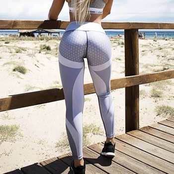 LASPERAL Honeycomb Printed Yoga Pants Women Push Up Professional Running Fitness Gym Sport Leggings Tights Slim Elastic Trousers 1