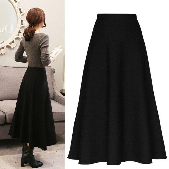79a439b0df Invierno mujeres Maxi imperio falda tobillo longitud Falda larga delgada  cintura otoño moda vintage plisado falda