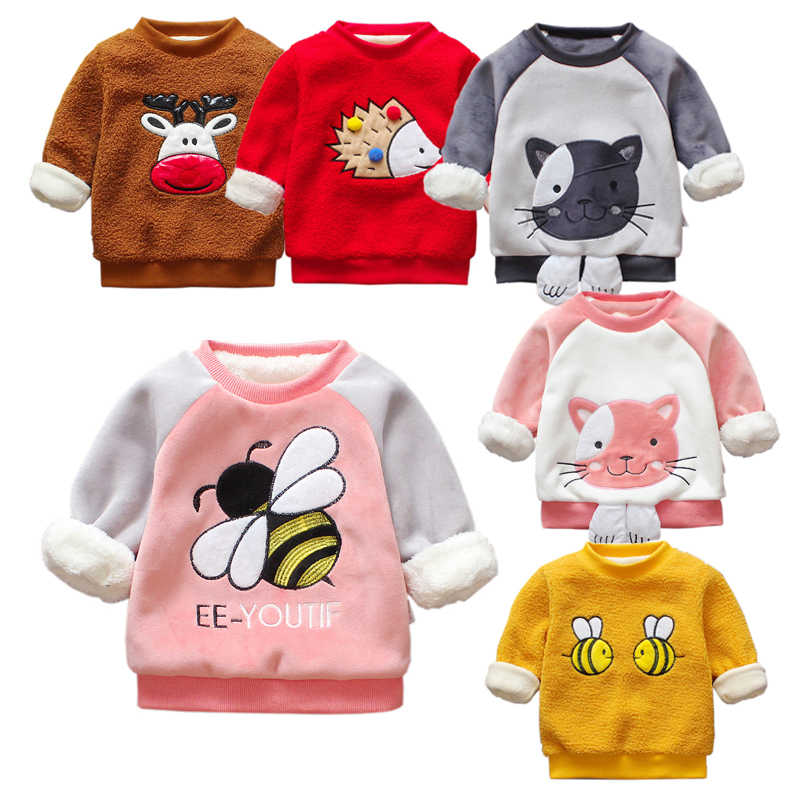 9a0a113be7 Toddler Girl Winter Clothes Kids Hoodies Bee Cute Baby Clothes Cat Boys  Sweatshirts Velvet Hoodies Warm