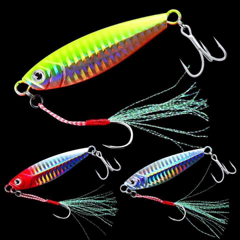 1PC Lead Fish Jig Fishing Lure 7G-10G-15G-20G-30G Slow Jig Metal Fishing Bait Spoon Artificial Hard Winter Ice Jigging Hooks