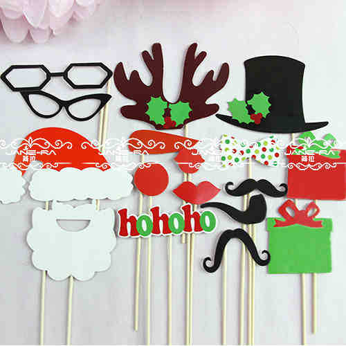 New Hot Diy Christmas Decoration Photo Booth Props Hat Mustache On