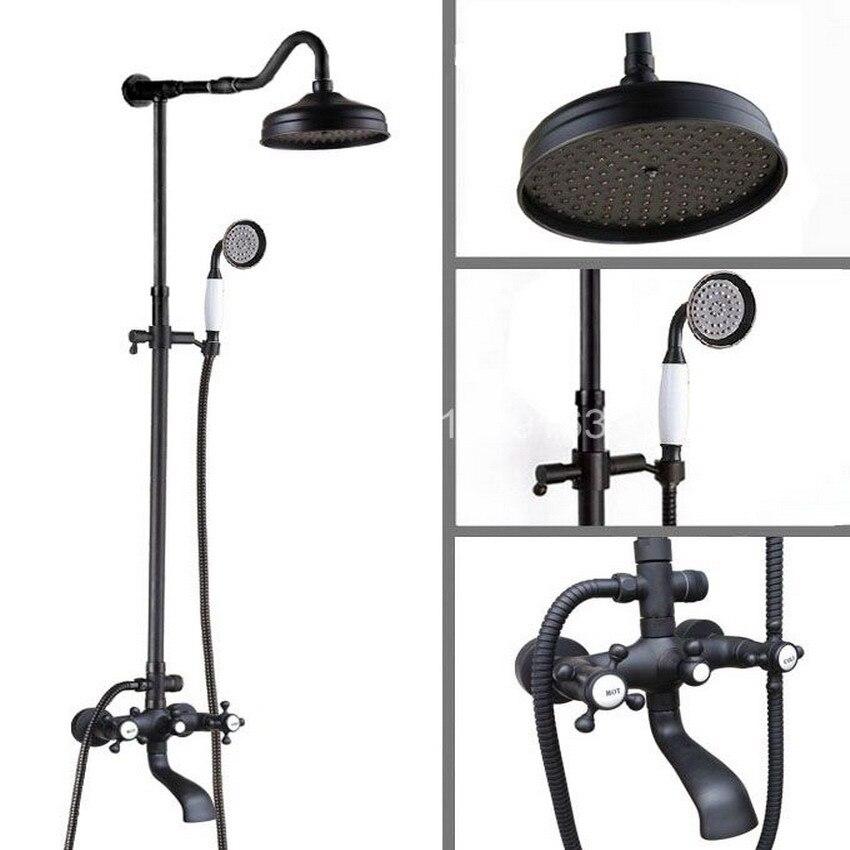 Brass Black Oil Rubbed Bronze Bathroom Rainfall Bathtub Shower Mixer Tap Faucet Dual Cross Handle Wall Mounted ahg604