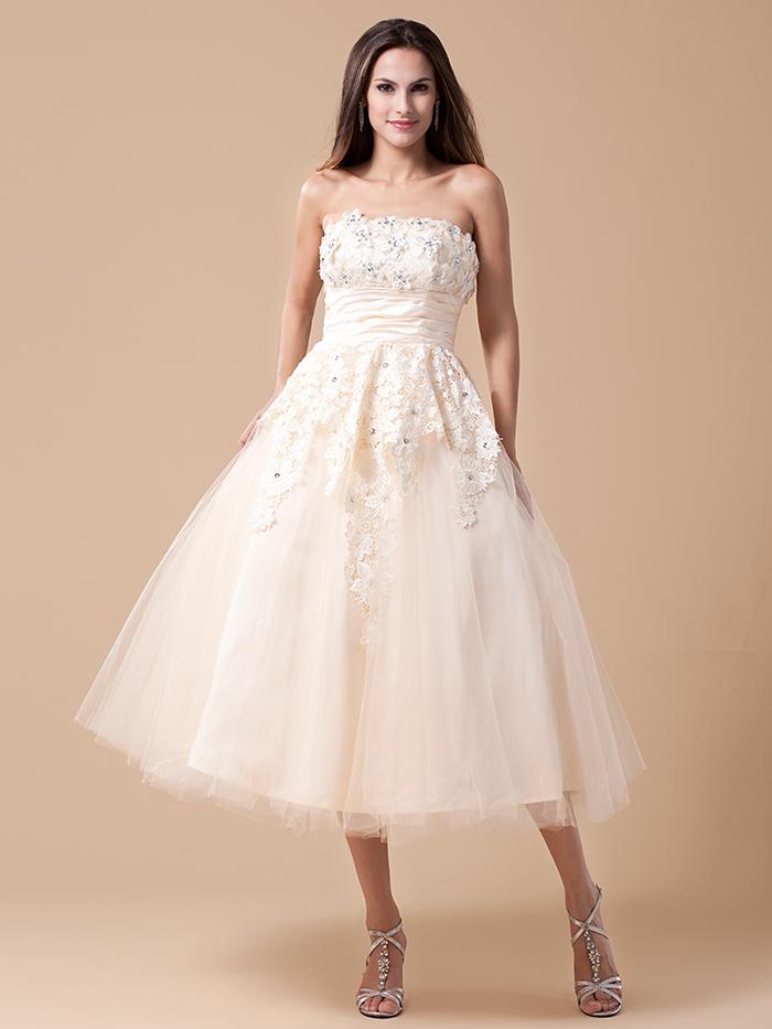 Champagne Short Vintage Tea Length Wedding Dresses With Color Lace ...