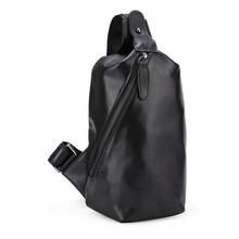 2017 Handmade Nappa 100% Genuine Leather Men Sling Chest Crossbody Small Bag Light Weight Black Bag 3176