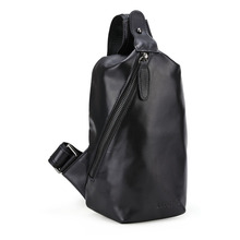 Handmade Nappa 100 Genuine Leather Men Sling Chest Crossbody Small Bag Light Weight Black Bag 3176