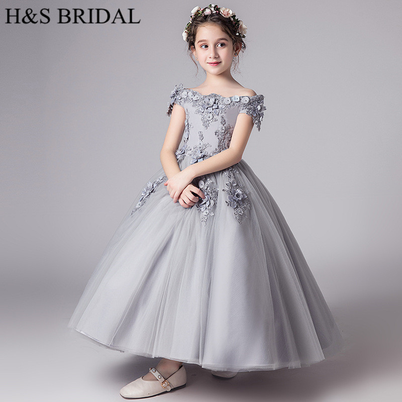 H&S BRIDAL Gray flower girl dresses for wedding kids Birthday party prom dress communion dresses vestido de daminha