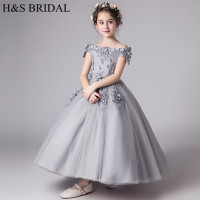 H&S BRIDAL Gray flower girl dresses for wedding kids Birthday party prom dress communion dresses vestido de daminha