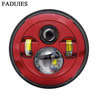 FADUIES New Red 7 Inch Motorcycle Projector Daymaker High Low Beam LED Light Bulb Headlight For