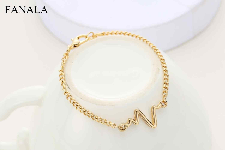 c34d354adfd ... 2018 Newest Korean Fashion Hot Simple Waves ECG Heart Rate Lightning  Bracelets For Women & Men ...