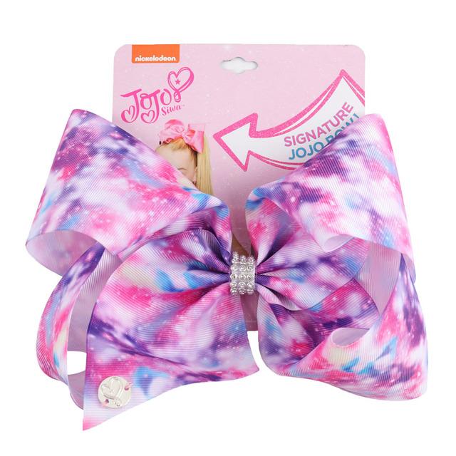 8″ Large JoJo Bow W Hair Clip For Girls Kids Handmade Metalic Printed Ribbon Knot Jumbo Hair Bow Hair Accessories