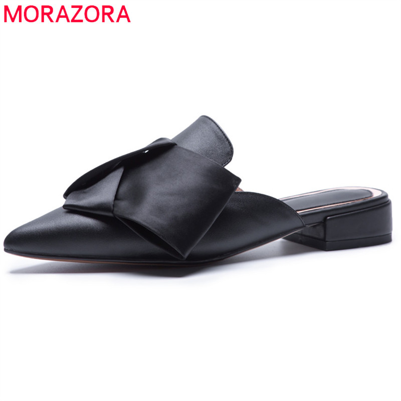 MORAZORA 2018 plus size 34-43 new style fashion mules woman genuine leather shoes women outside pointed toe summer flat sandals gktinoo genuine leather sandals women flat heel sandals fashion summer shoes woman sandals summer plus size 35 43 free shipping