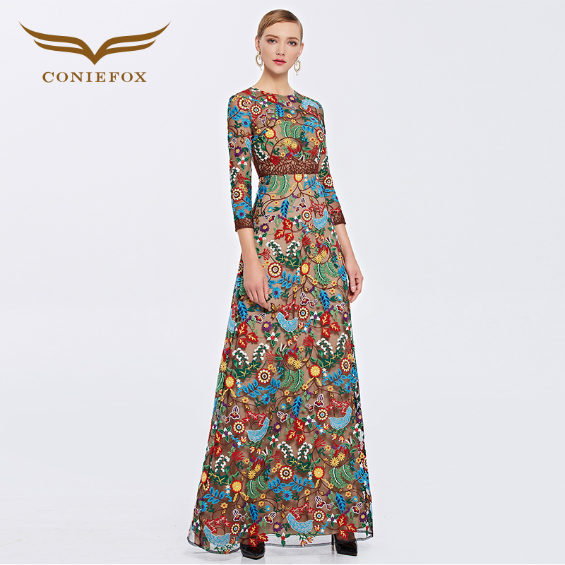 Coniefox 31382 Luxurious Handwork Scoop Neck Floral Evening Party prom Dress vestido...