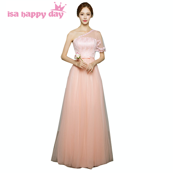 479e9d7a1d US $31.16 5% OFF elegant dress long tulle one shoulder simple peach  bridesmaid dresses girl formal part fashion 2019 floor length for women  H3742-in ...