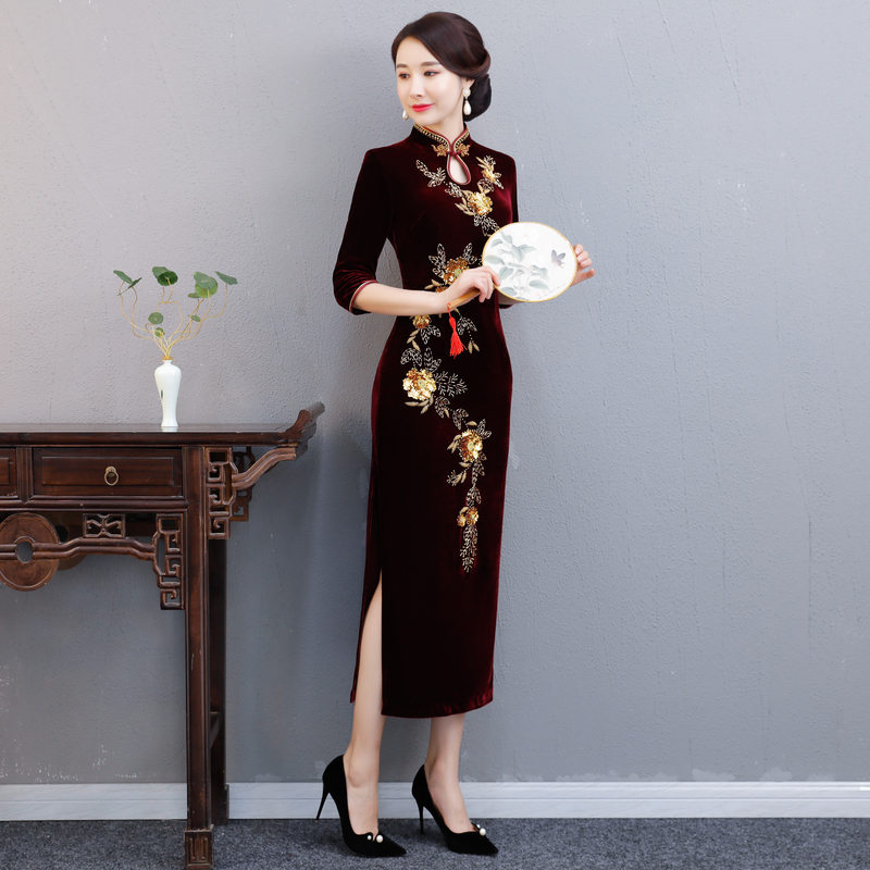 Bourgogne Long Velours Femmes Lady Cheongsam Robes Chinois Bouton 4xl Qipao De Mode Robe Printemps Mince S Partie Plus Taille 2018 qwtpHH