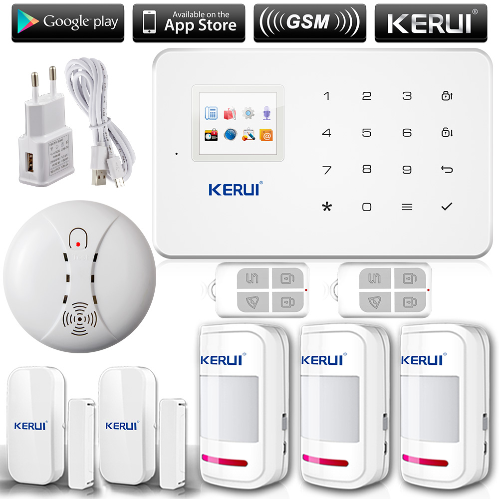 Kerui g18 english russian voice gsm autodial home security alarm system ios app android app sensor