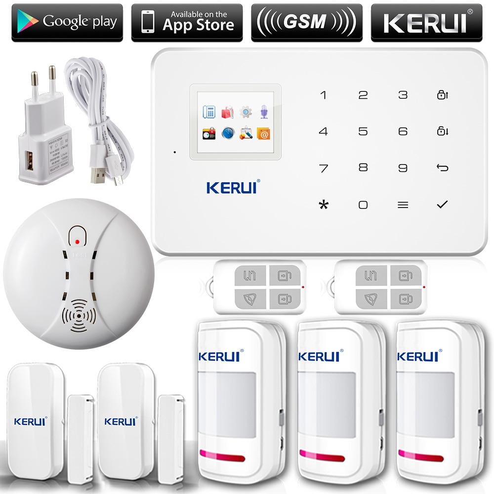 Kerui g18 english russian voice gsm autodial home security alarm system ios app android app sensor