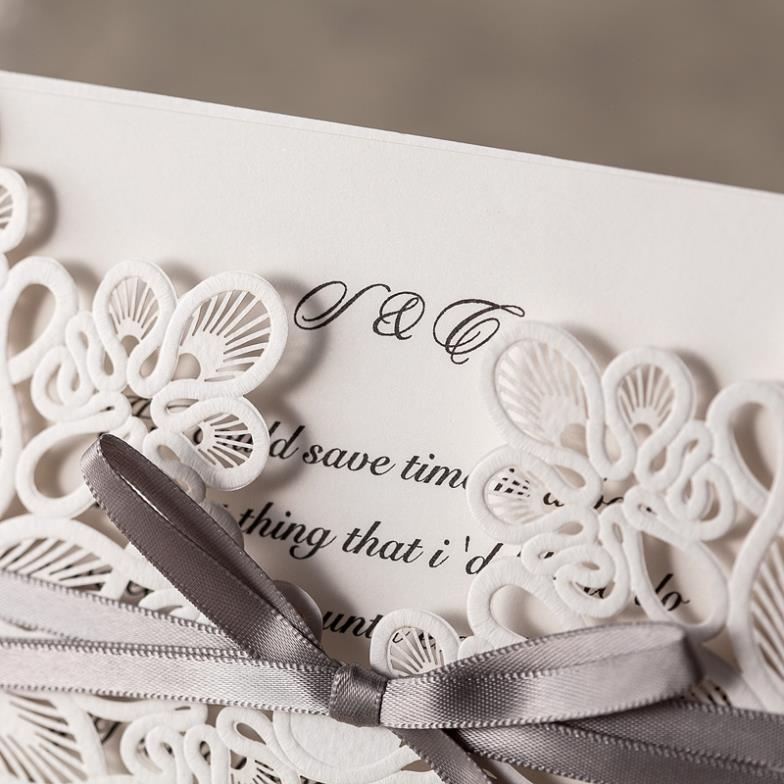 1 Set Sample Of Laser Cut White Wedding Invitations Wishmade 1 – Creative Engagement Party Invitations
