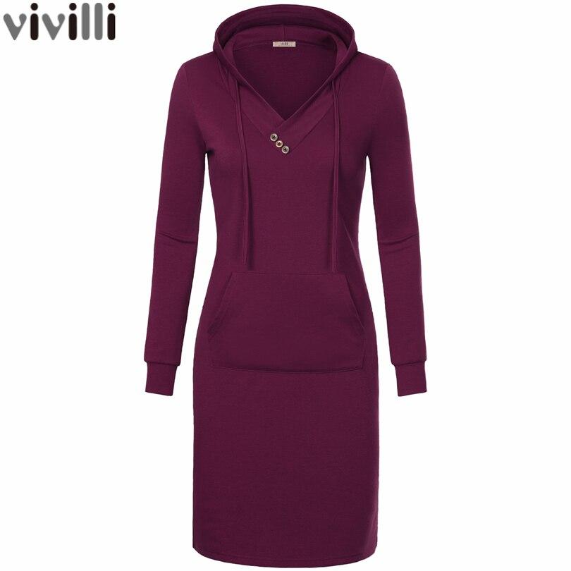 2017 Spring Autumn Women Long Sleeve Hooded Dress V Neck Keen Length Kangaroo Pocket Pencil Dress