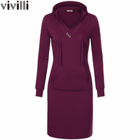 2017 Spring Autumn Women Long Sleeve Hooded Dress V Neck Keen Length Kangaroo Pocket Pencil Dress