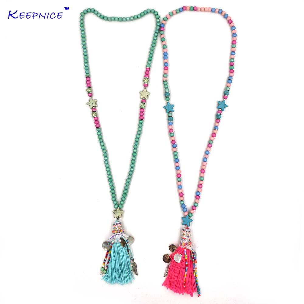 2017 New Pink Tassel five stars pentagon pendents necklace boho Bohemiam long fringe statement wooden beads Chain Maxi Necklaces