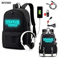 Stranger Things Backpack multifunction USB charging for teenagers boys Student Girls School Bags travel Luminous Bag Laptop Pack