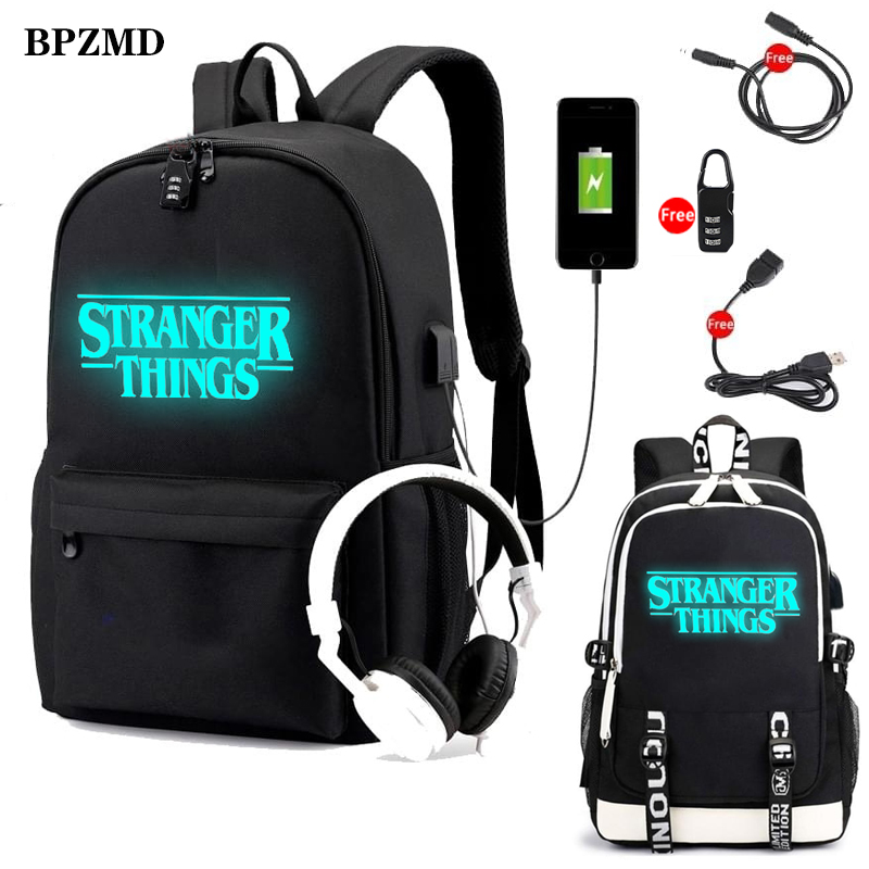 Stranger Things Luminous Backpack For Teenagers Boys Student Girls School Bags USB Charging Men Bag Women Travel Laptop Backpack