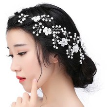 Elegant Wedding Hair Accessories For Bridal Lace Flowers Crystal Pearl Headbands Charm Women Tiaras Headdress Hair Jewelry SL