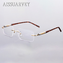 8a4c5cbbc04a2 Aço Inoxidável Armações De Óculos De Titânio Homens Marca Designer de Óculos  Sem Aro Prescrição Óptica