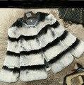 New Hot Selling! Women Genuine Rex Rabbit Fur Coats Jackets Chinchilla Color Top Fashion Outerwear Fur Vests Plus Size BF-C0158