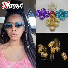 Golden And Silver Mixed Hair Braid Dread 100Pcs/lot Dreadlock Beads Micro Rings Adjustable Hair Braid Cuff Clip 8mm Hole(China)