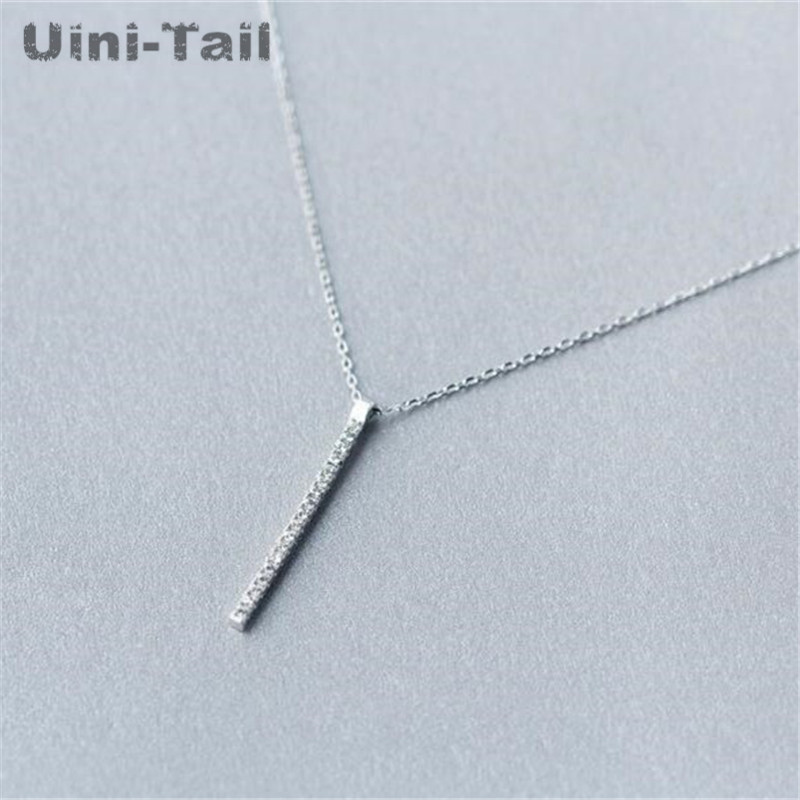 Korean fashion 925 sterling silver sweet word necklace clavicle chain Simple wild jewellery pendant woman hypoallergenic