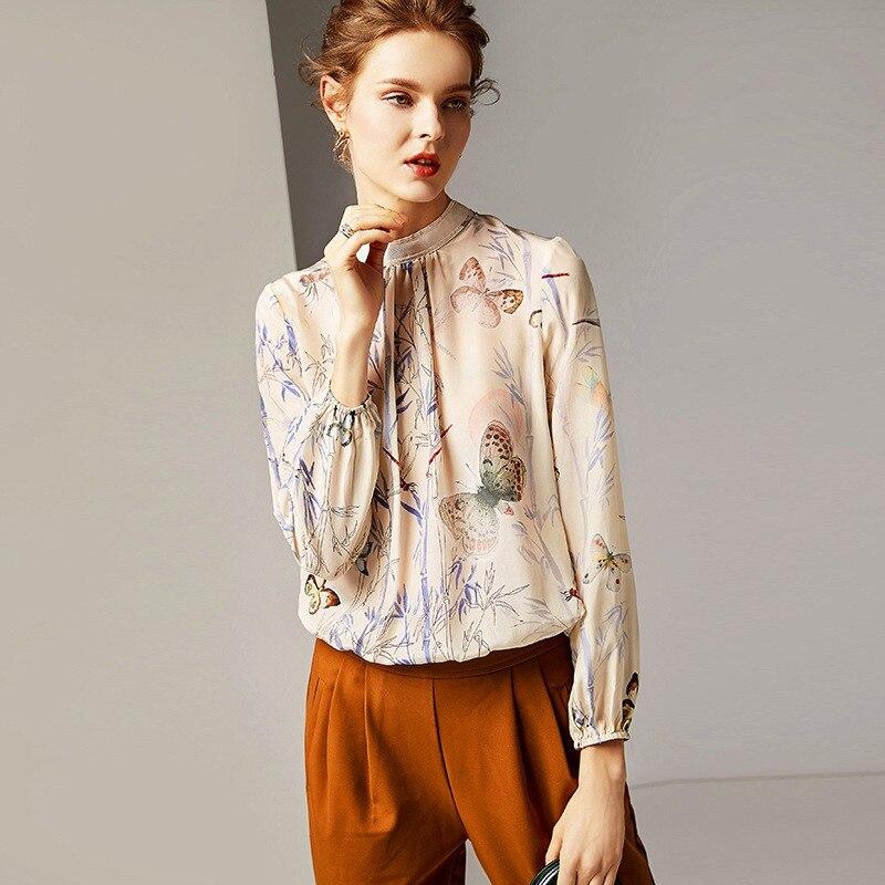 90fb7cfa7dfabb 2019 Schinteon New Women Blouse 100% Real Silk Print Long Sleeve Shirt  Turtleneck Pullover Top
