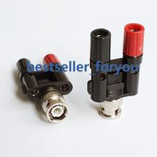 1Pcs BNC male to two dual 4mm Banana binding post jack connector  Adapter 1M2F