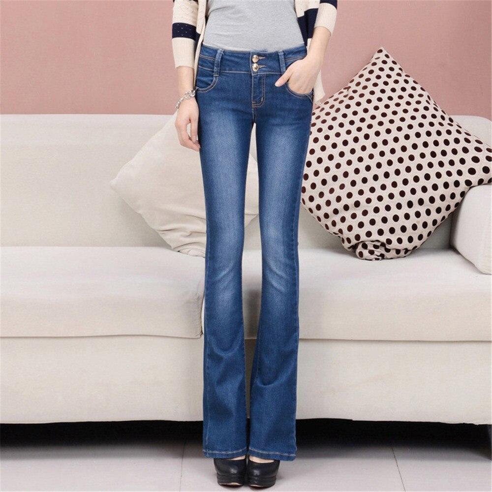 High Waist Jeans Woman Fashion Cotton Tight Button Whitening Boot Cut Pant Women Jeans Mujer Jean Femme Denim Spodnie Damskie