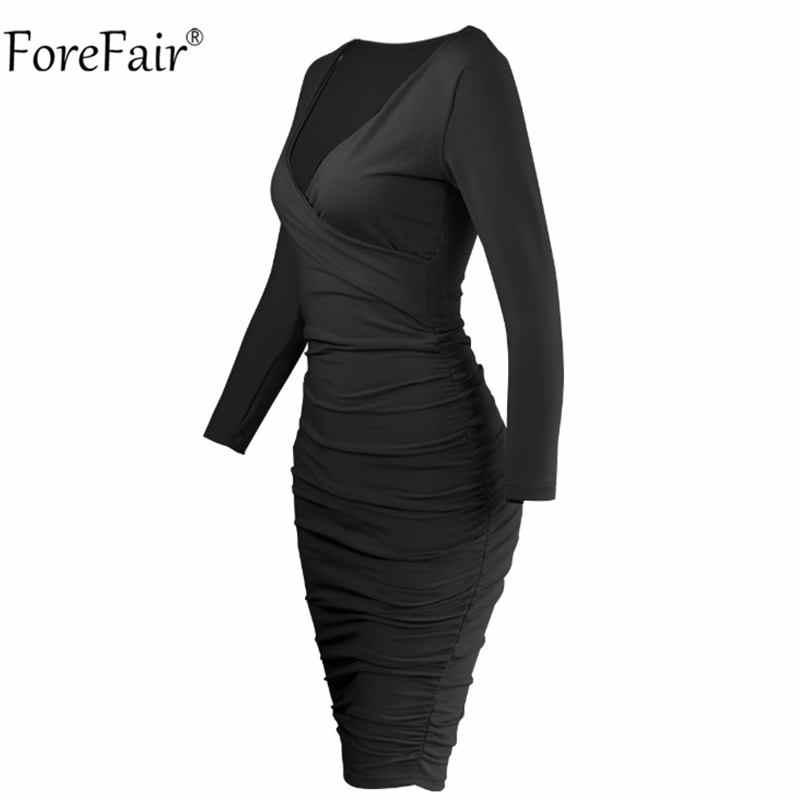 Forefair V Шеи Обертывание Bodycon миди платье черный зима осень для женщин с длинным рукавом Ruched Cross твердые сексуальные повседневные красные платья