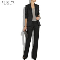 Black Ladies Custom Made Women Formal Suits Work Wear Business Office Tuxedos Ladies Black Trouser