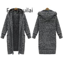 2019 large size women's autumn and winter Europe and the new long thick knit  loose hooded sweater coat women sweater cardiga original xiaomi mijia 90 points double knit sports hooded sweater men s autumn and winter sweater