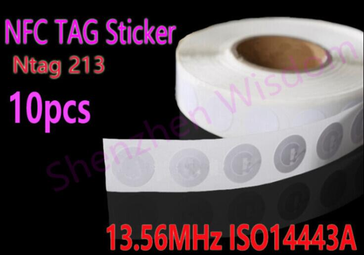 10pcs Ntag 213 NFC Tags 13.56MHz ISO14443A  25mm Rewritable Ntag213 NFC Tag Sticker  All NFC Phone Available Adhesive Labels iclebo