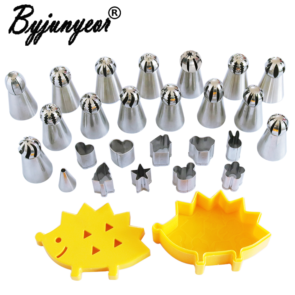 Stainless Steel Fruit Cuts+Russian Spherical Ball Icing Piping Nozzles Pastry Tips Cupcake Decorating Tools CS132 CS133 CS134