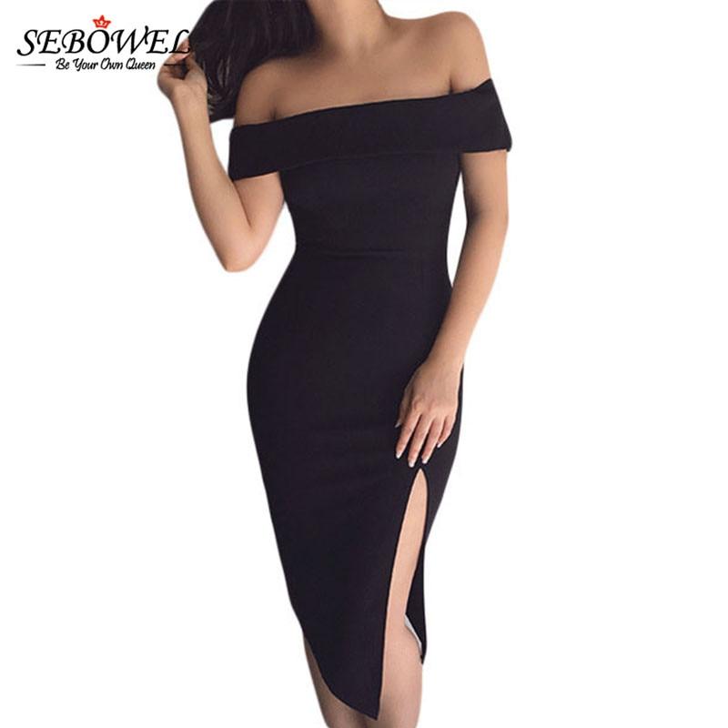SEBOWEL Sexy Black Off Shoulder Short Dress Women Summer Sleeveless  Backless Side Slit Bodycon Party Dress Vestidos De Fiesta XL-in Dresses  from Women s ... 3bd8d5138bef