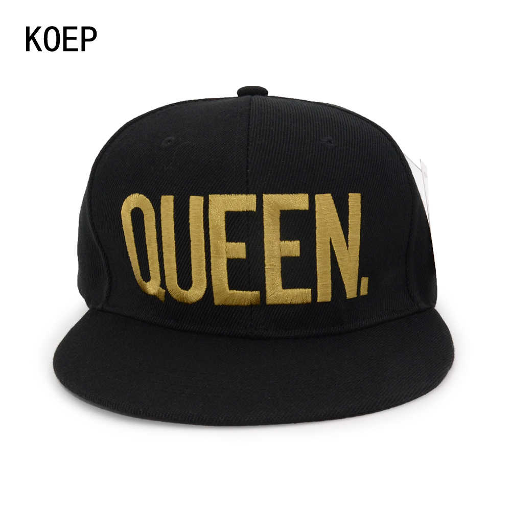 7719768a6f774 ... KOEP Hot Sale KING QUEEN Black Embroidery Snapback Hat Men Women Couple Baseball  Caps Dad Hat ...