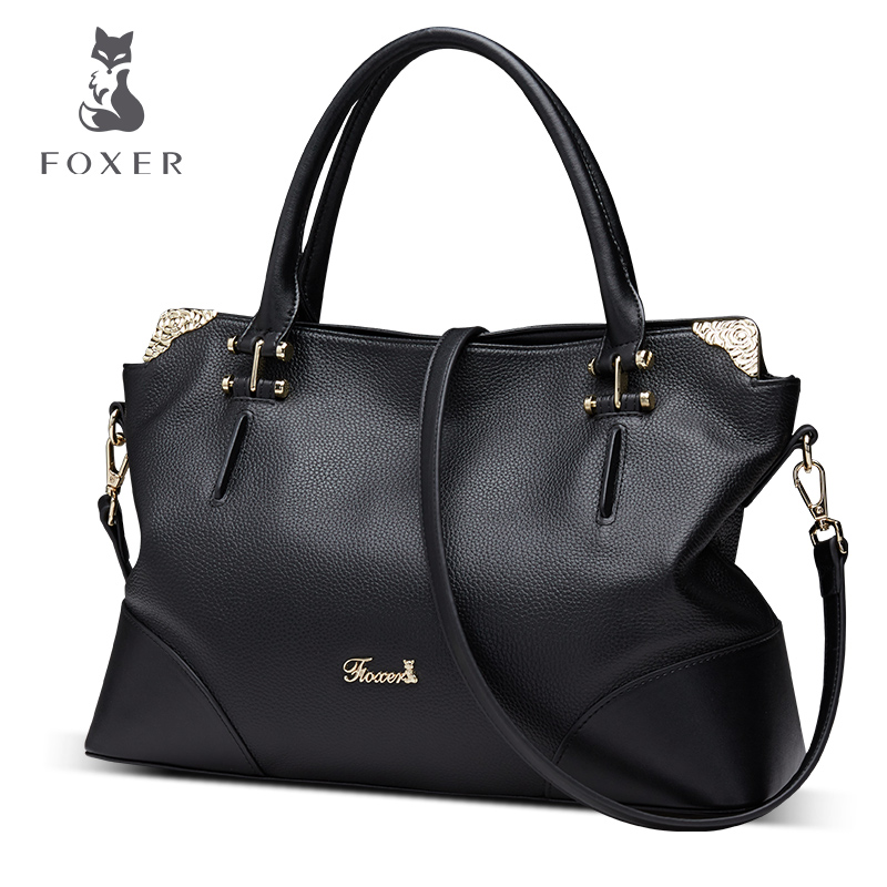 FOXER Casual Tote Soft Genuine Leather Shoulder Bag Big Size Solid Women Handbag With Rose Metal цена