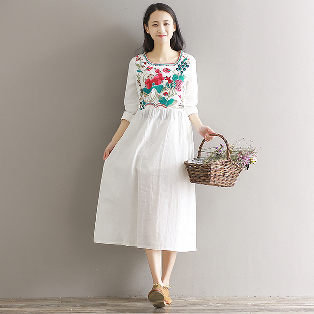 2018 Vintage Mexican Summer Style Women Fl Print Casual Long Maxi Cotton Dress Vestidos Robe
