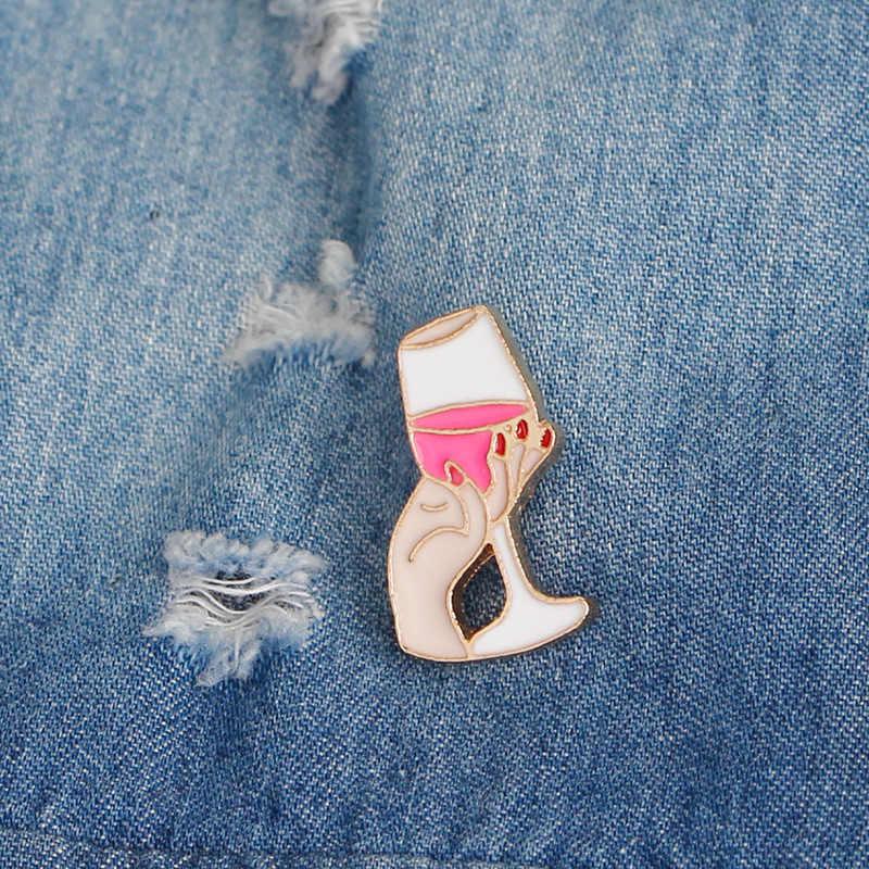 """Kreatif Bros Seksi Retro Merah Bibir """"OMG"""" Anggur Rokok Sesuai dengan Coke Es Krim Musim Panas Baru Pin Wanita perhiasan Bros Hadiah"""