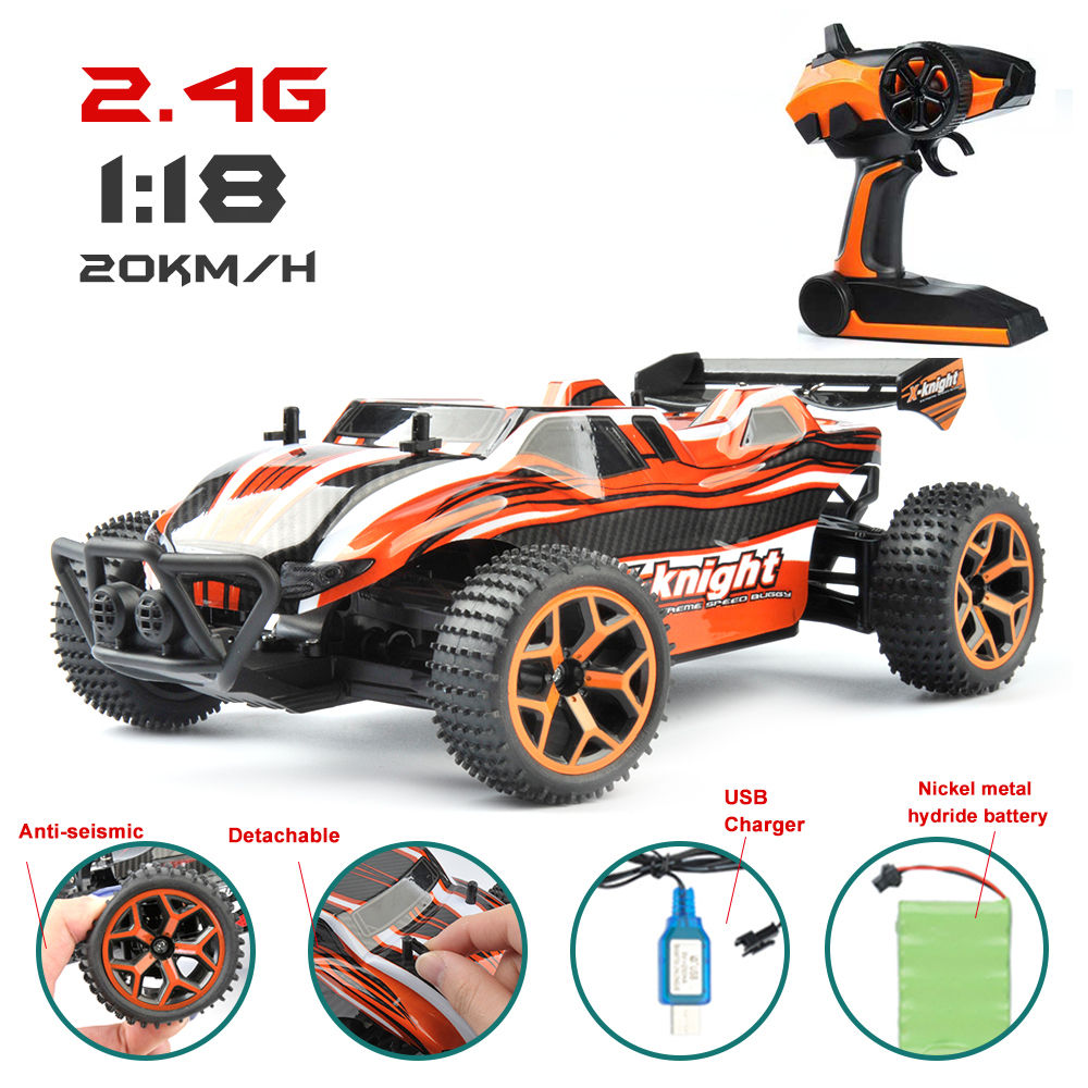 1/18 Scale RC Car 4CH Off-Road Vehicles Model Toy 20km/h High Speed Dirt Bike Electric Remote Control Car for Kids Toys Big Sale
