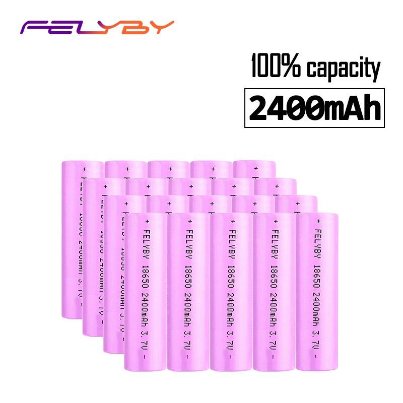 Ventes de haute qualité 20 pièces batterie 18650 lithium batterie chargeur 2400 mAh 3.7 v batterie rechargeable avec chargeur USB