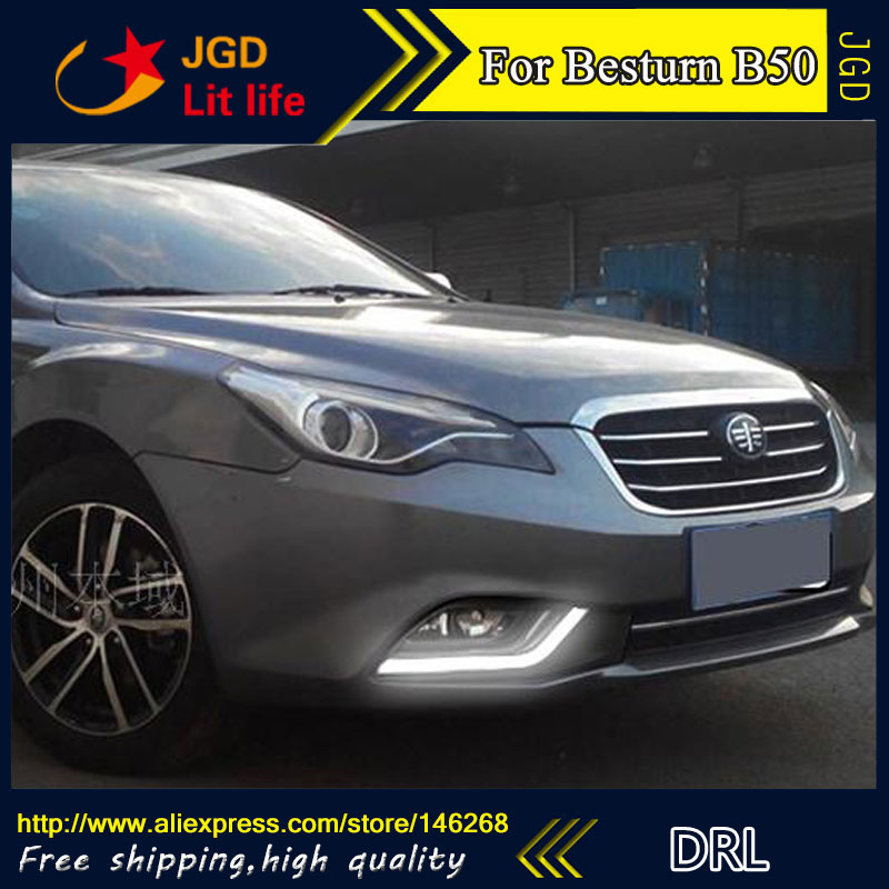 Free shipping ! 12V 6000k LED DRL Daytime running light for Besturn B50 2013 2014 2015 fog lamp frame Fog light Car styling