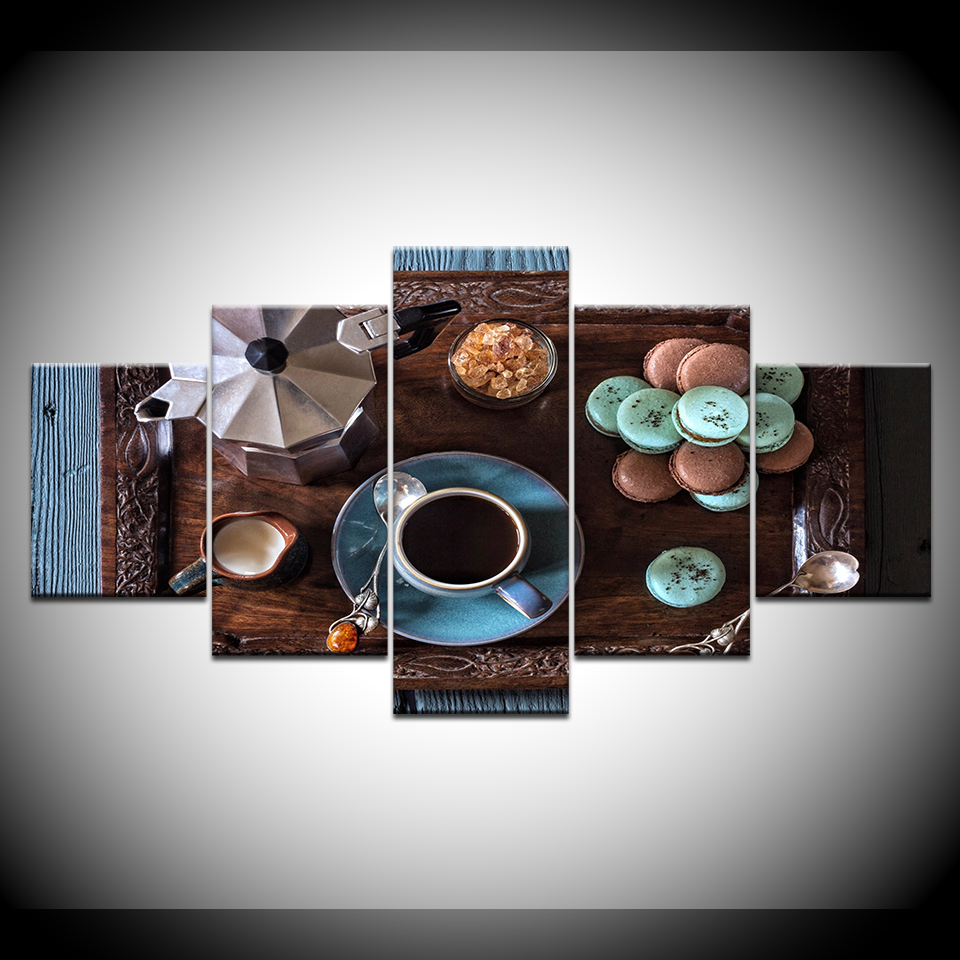 Set Of 3 Coffee Cup Canvas Wraps: Canvas Painting Home Decor Frame HD Prints 5 Pieces Coffee