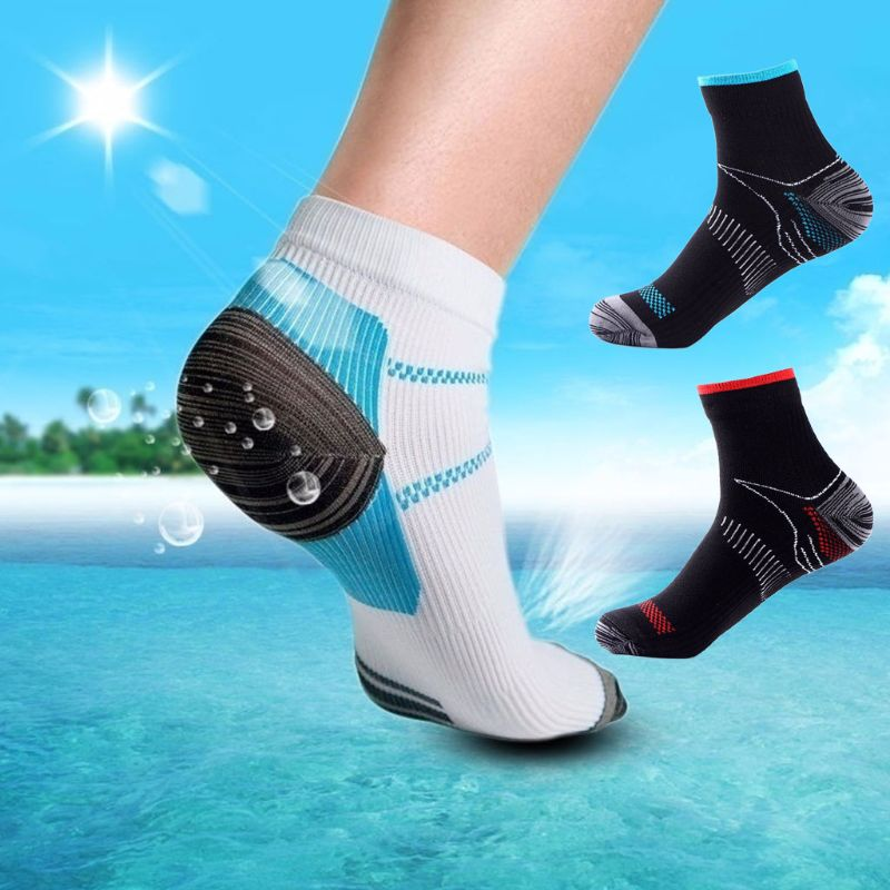1 Pair Men Short Socks Compression Arch Support Athletic Gym Breathable Sports Socks