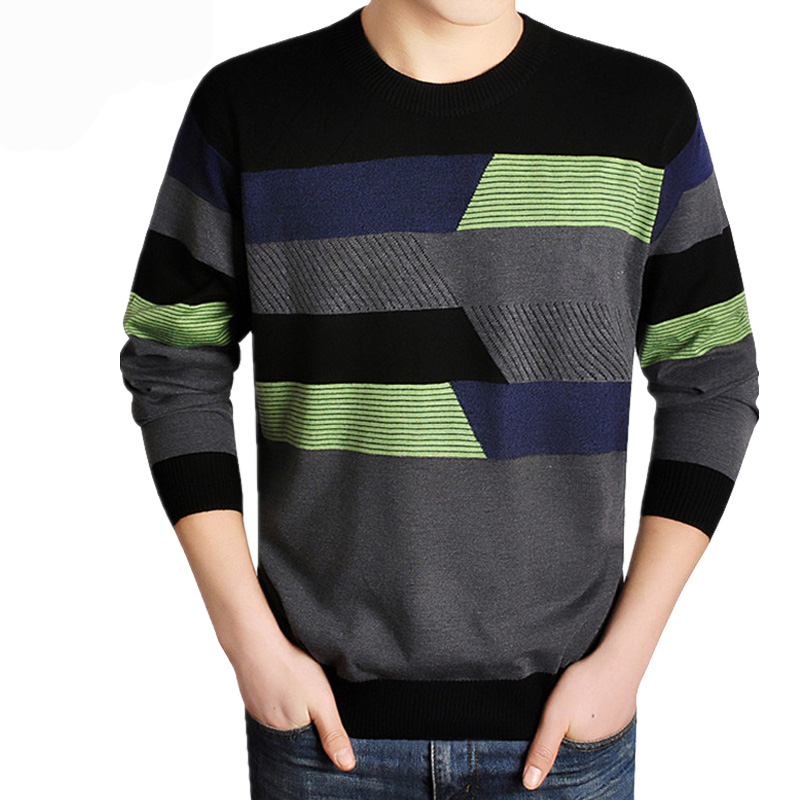 Men Long Sleeve Discount Patchwork Sweater Men Casual Brand O-Neck Clothing Cashmere Wool Pullover Drop Shipping Top Coat Plus